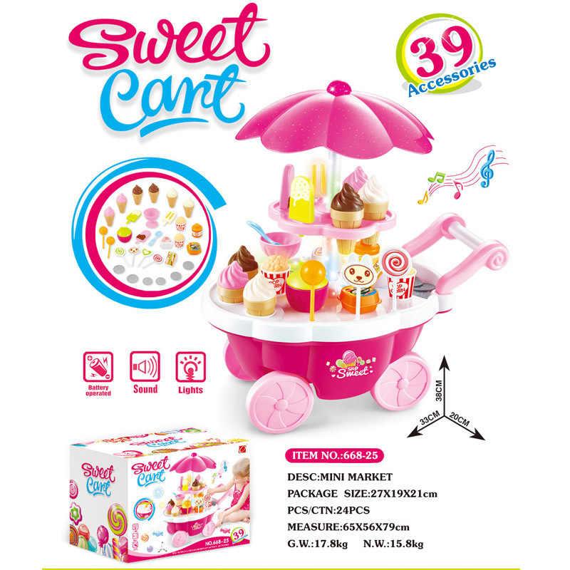 Los niños juegan casa modelo Mini Carro de caramelo tienda de helado de supermercado juguete de música ligera para niñas