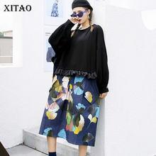 XITAO – robe à motif imprimé Patchwork pour femmes, décontractée, mode, nouveau Style, col rond, manches longues, ample, automne, ZYQ4357