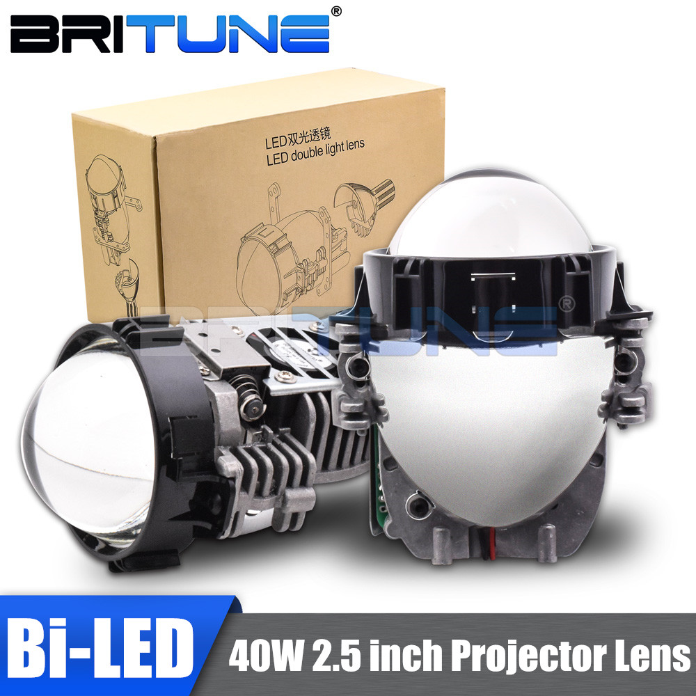40W 2.5 Inch Bi LED Projector Lens Car Headlight Retrofit Universal LED Headlamp High Low Beam Lens Car Accessories