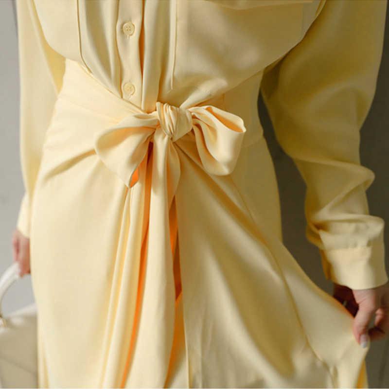 Moda taze uzun temel gömlek yeni varış zarif vahşi etek 2 parça seksi yüksek kaliteli iş tarzı sevimli sonbahar sarı kadın seti