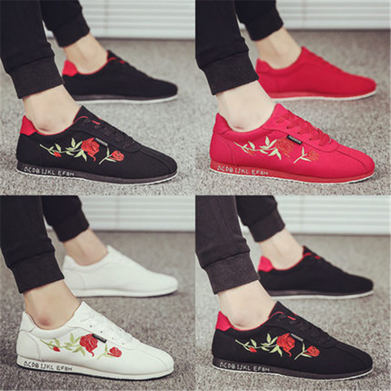 Mens Shoes Casual Embroidery Ethnic Sneakers Men Chinese Style Lace-Up Breathable Hard-Wearing Summer Male Canvas Fabric Loafers