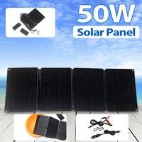50W 5V 12V 태양 전지 패널 태양 전지 충전 플레이트 USB 2A 3A 빠른 충전 방수 접는 가방 ETFE 클립 야외 캠핑