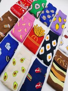 Women Socks Skateboard-Socks Cookie-Donuts Avocado Fruits Banana Happy Funny Harajuku