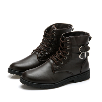 Fashion Men Pu Leather Lace-up Shoes Male Vintage British Military Boots Men Motorcycle Boots Autumn Casual Shoes