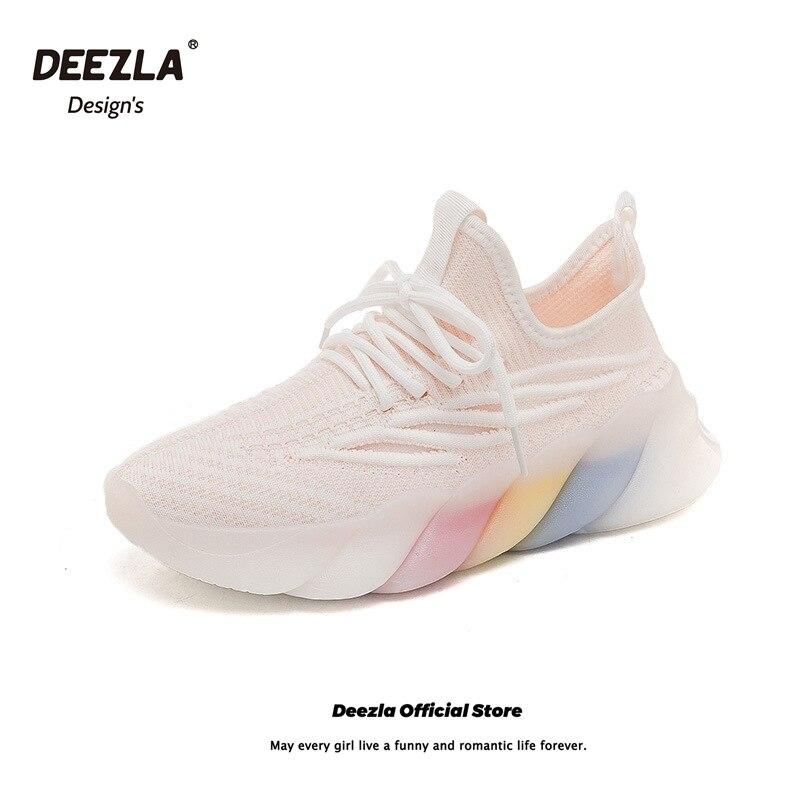 2021 летние кроссовки для женщин, кроссовки для бега, кеды из легкой сетчатой ткани ярких Цвета повседневные спортивные женские туфли; Туфли с...