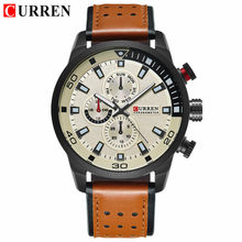 Top Brand Luxury CURREN Men Sport Watches Men's Army Military Leather Quartz Watch Male Waterproof Clock Relogio Masculino(China)