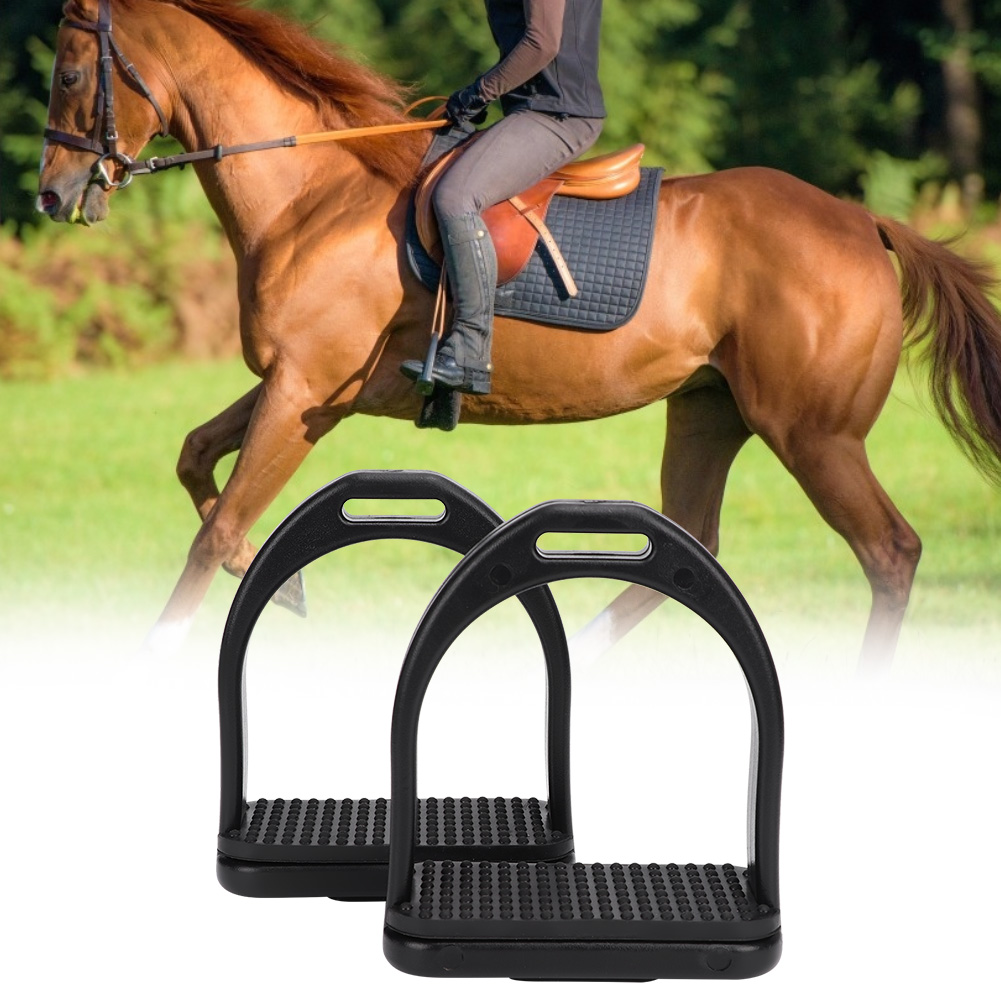 A Pair Of Black Pedals High Strength Horse Stirrup Riding Stirrups High Quality Plastic Material Fit For Adult Or Children