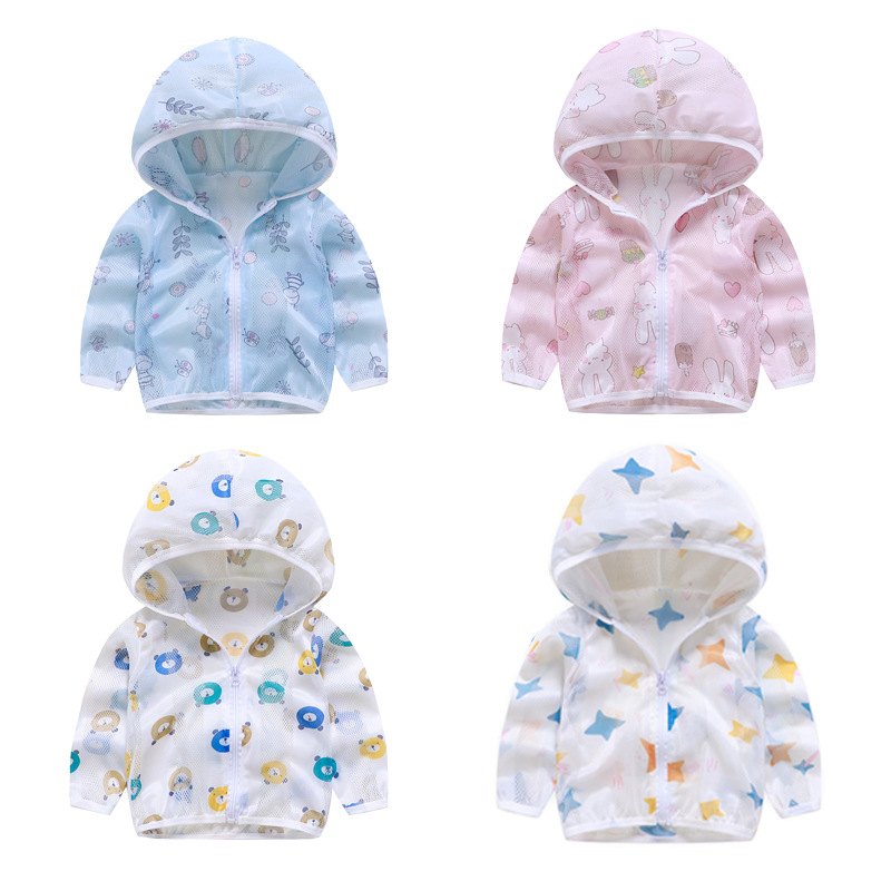 Summer Windbreaker for Boy Baby Jacket Kids UV Protection Clothes Hooded Children's Sun Clothing Girls Sea Beach Blouse Outwear-5