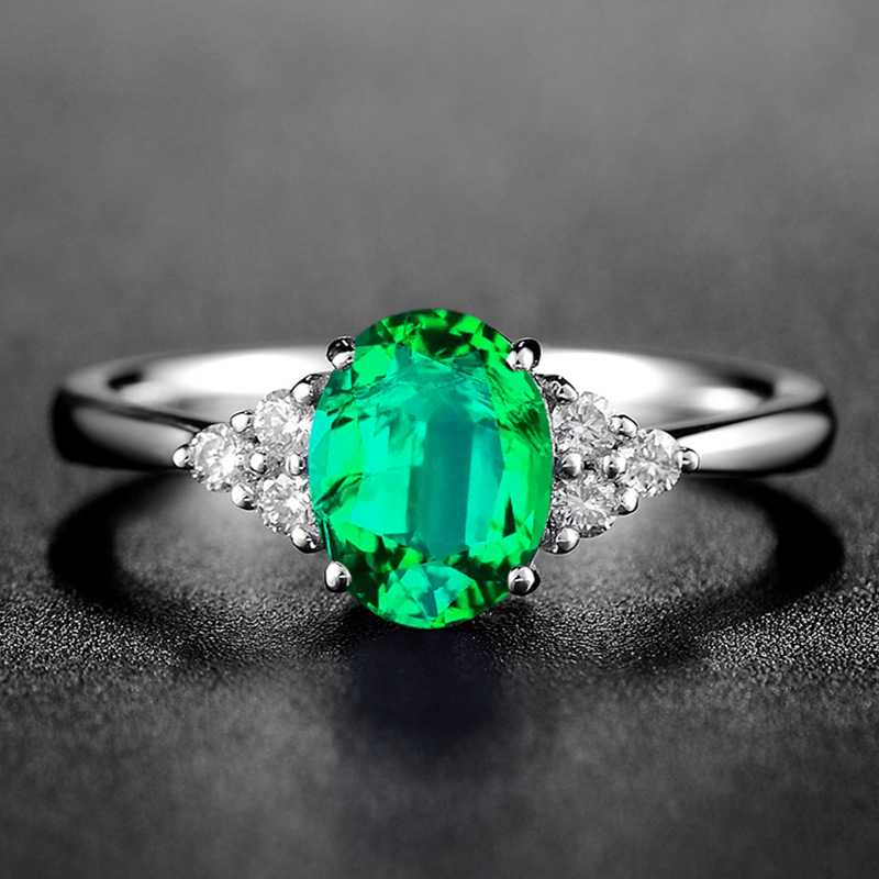 Caiyayinuo Luxury 925 Silver Ring With Green Oval Emerald Gemstone Silver Woman Open Adjust Size Classicparty Gift Wholesale