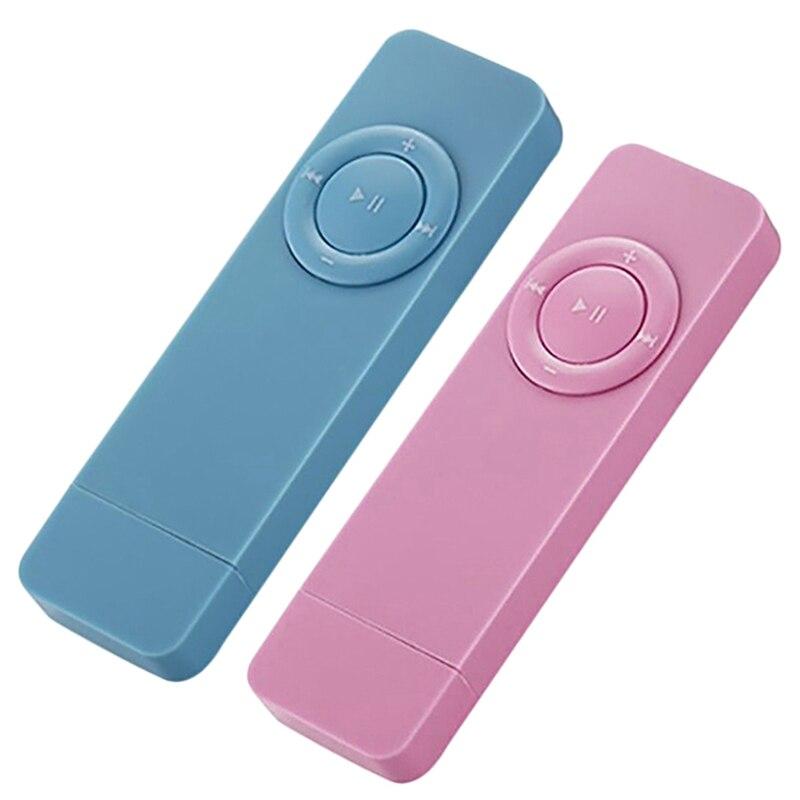 2 Pcs Portable USB Sport U Disk Mini Mp3 Music Player Support 32GB  TF Card (Blue & Pink)