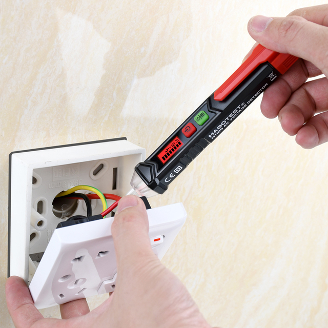 Habotest HT100 Non Contact AC Volt Tester Pencil Live Wire Finder Voltage Pens Detectors 12-1000V