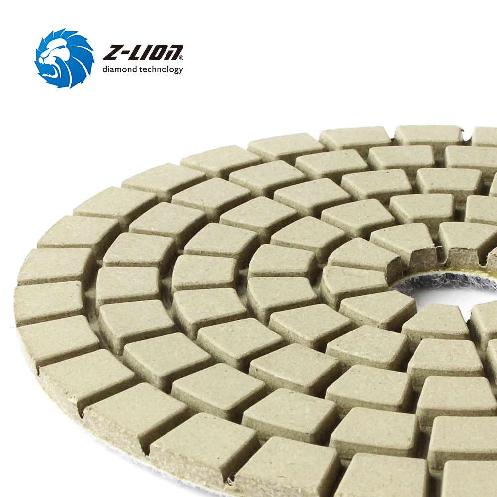Z-LION 5 Inch Polish Diamond Dry Buff White 125mm Profession Polishing Buff Pad Diamond Grinding Buff Disk Granite Marble Tool