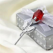 Ornaments Souvenir Flower-Figurines Gift Wedding-Decoration Crystal Valentine's-Day-Favors