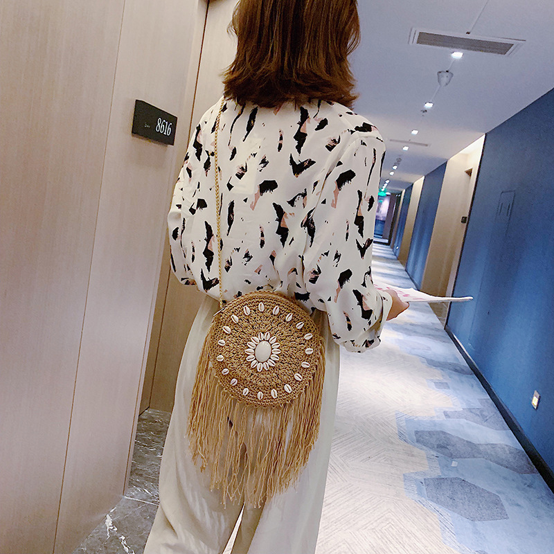 Summer Round Handmade Straw Woven Bag Shoulder Bag Leisure Travel Bag Retro Fringed Casual Women Beach Small Crossbody Bag in Shoulder Bags from Luggage Bags