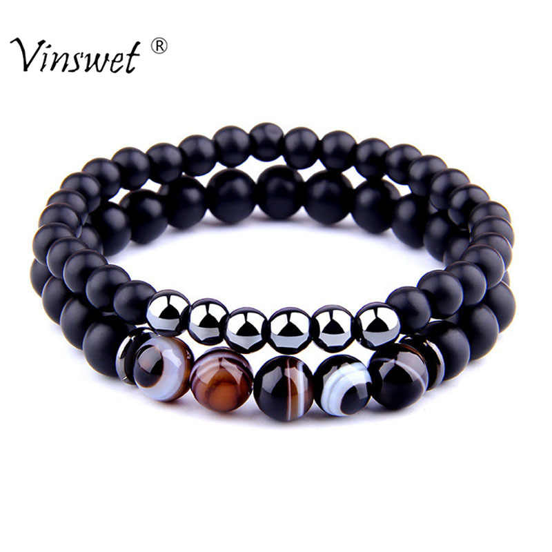 2pcs Bracelets Men Fashion Natural Striped Agates Matte Black Onyx Beaded Bracelet for Women Men Hematite Bracelet hommes bijoux