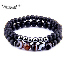 2pcs Bracelets Men Fashion Natural Striped Agates Matte Black Onyx Beaded Bracelet for Women Hematite hommes bijoux