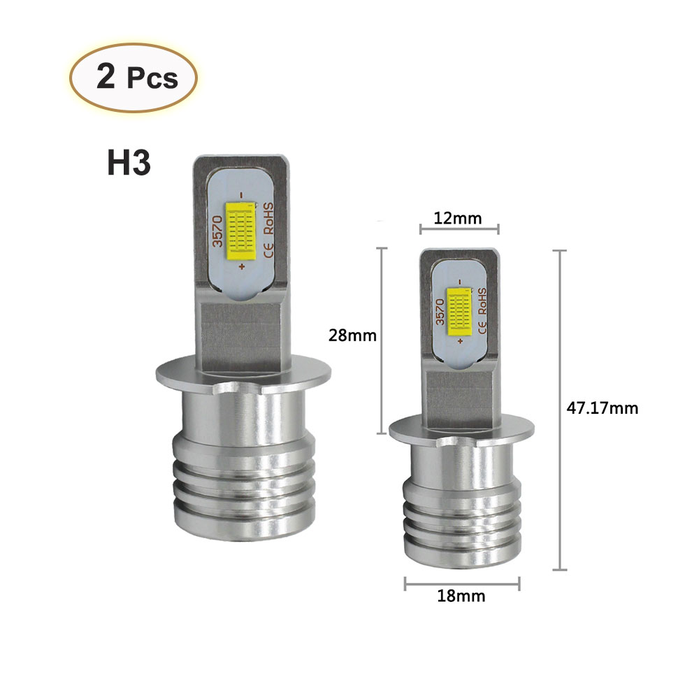 2pcs H3 LED Fog Light 12V 25V 3570 H3 Beam Lamp 3000K 6500K Led Car Light Daytime Running Vehicle External Lamp Bulb Day Driving