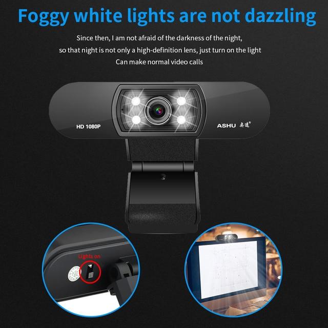 Ashu h800 completo hd vídeo webcam 1080p hd câmera usb webcam foco visão noturna computador câmera web com microfone embutido 6