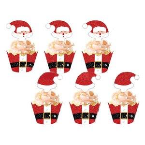 Image 2 - クリスマスサンタクロース紙カップケーキカードセットラッパートッパーためキッズパーティー誕生日装飾ケーキカップ (12ラップ + 12トッパー)