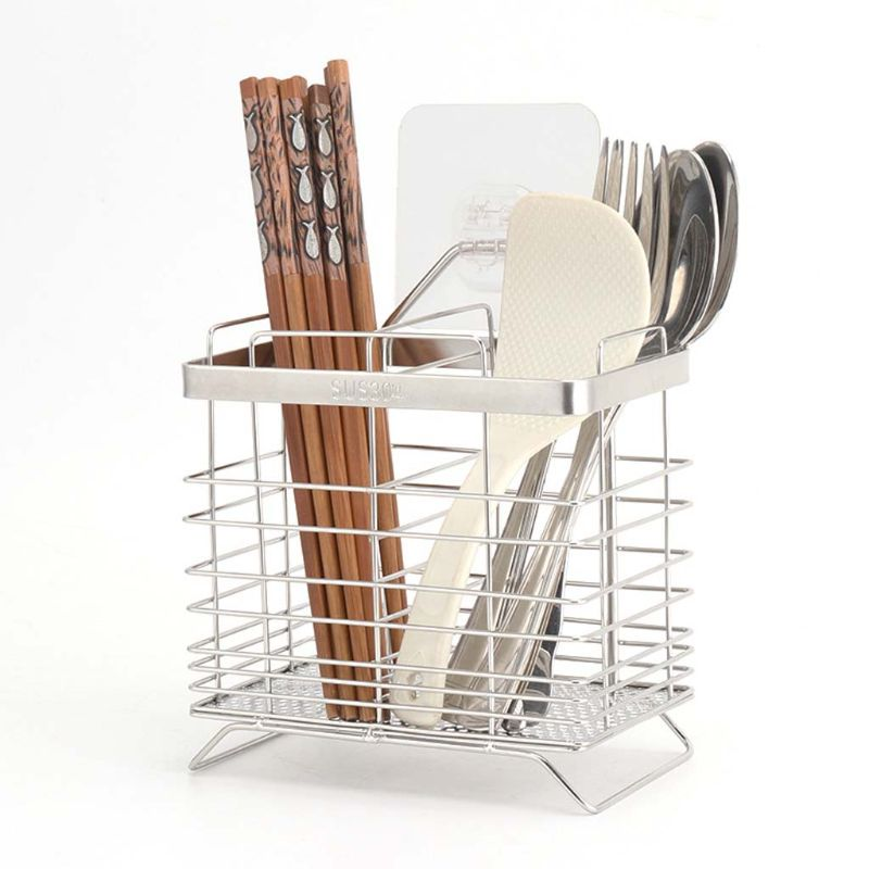304 Stainless Steel 2 Compartments Mesh Utensils Drying Rack Chopsticks Drain Basket Flatware Holder Cutlery Organizer Caddy