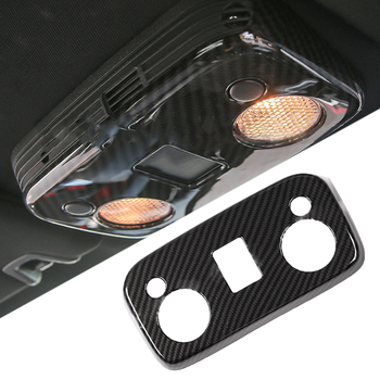 CITALL Carbon Fiber Style Car Roof Reading Lamp Light Panel Frame Cover Trim Decor Sticker Fit for Ford Mustang 2015-2019