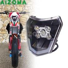 Cabeça da motocicleta luz led farol da bicicleta sujeira enduro para 250 300 350 450 500 exc XC-W EXC-F tpi seis dia 690 smc r ue eua