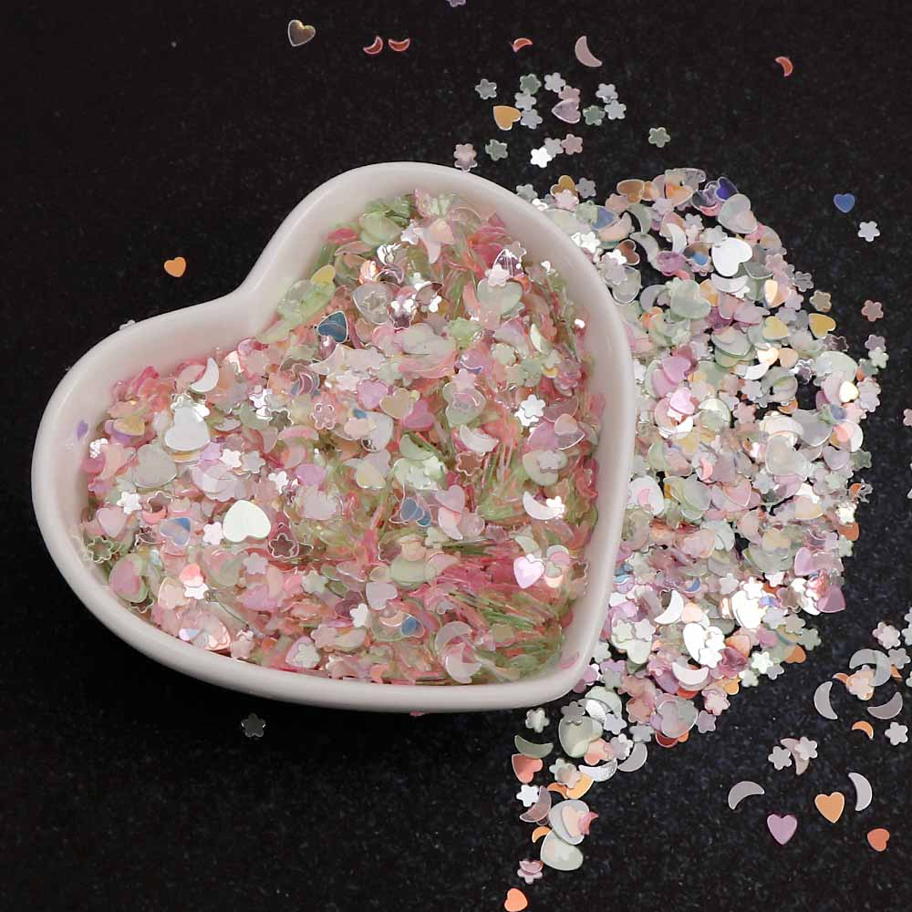 15g/bag Pink Series Shining Sequins Heart Star Moon Shapes Brilliant Glitter PVC Loose Nail Sequin Wedding Decoration Craft Confetti