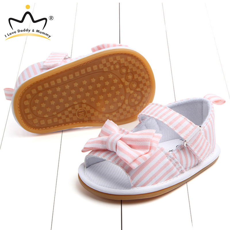 Vintage Pink Blue Stripe Bow Baby Sandals Summer Casual Non-slip Soft-soled Shoes Baby Girl Shoes Sandalias Bebe Infantil