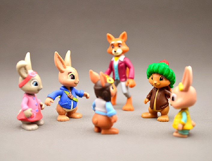 1pcs 8cm Cartoon Peter Rabbit Action Figure Doll Hard PVC Kids Lovely Animal Toy Peter Lily Bobtail Benjamin Nutkin