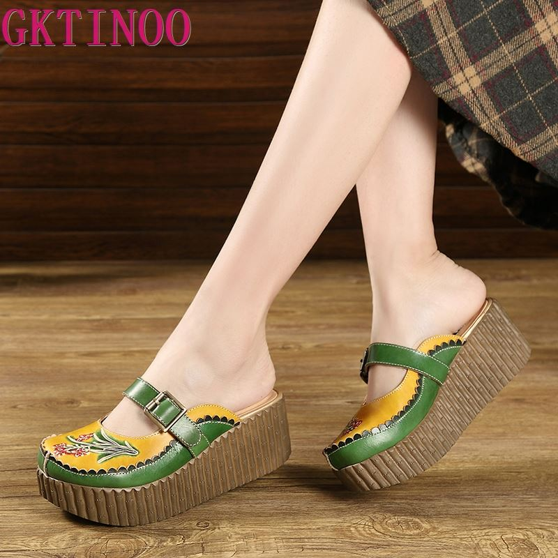 GKTINOO 2020 Wedge Slides Shoes Women Cover Toes Buckle Flower Cut Out Summer Female Genuine Leather Platform Slippers