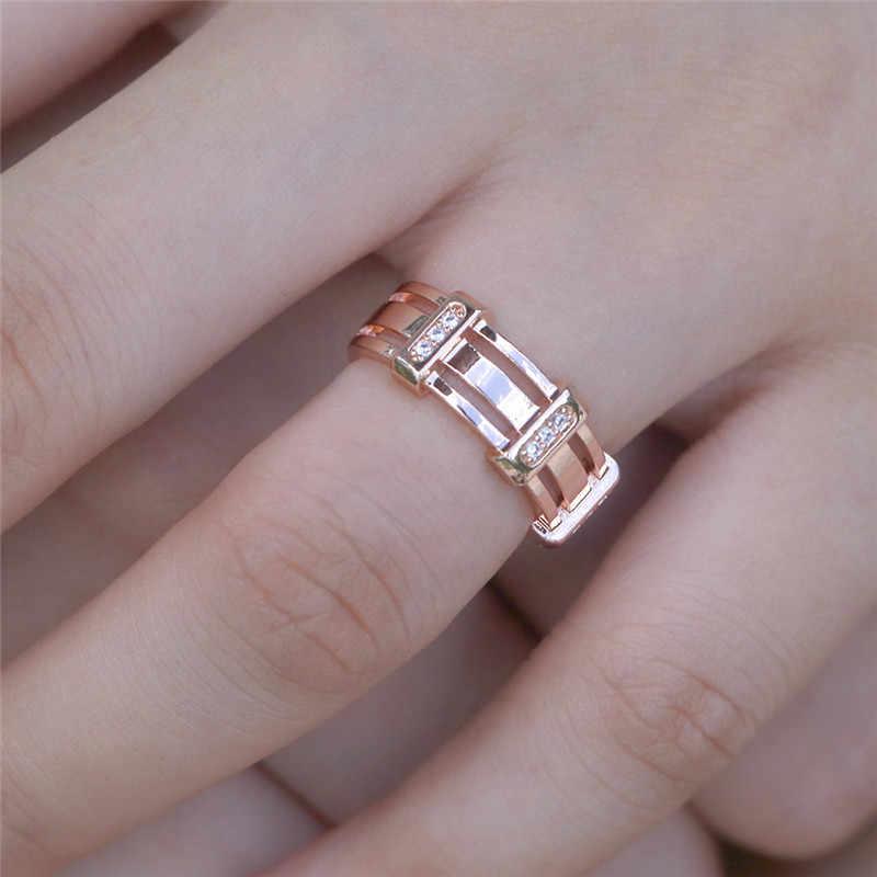 로즈 골드 컬러 CZ 스톤 결혼 반지 여성을위한 새로운 디자인 실버 컬러 할로우 패션 남자 펑크 쥬얼리 선물