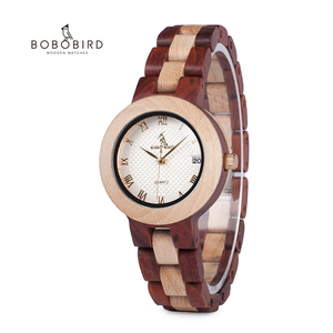 Image 1 - relogio femino BOBO BIRD Elegant Wooden Two tone Strap ladies Week Display Quartz Wristwatch With Wooden Box M19
