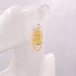 Image 2 - Pendientes islámicos con monedas antiguas de Color dorado musulmán para mujer estilo árabe africano
