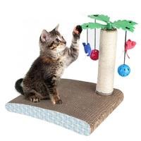 Pet Cat Corrugated Paper Scratching Board Playing Grinding Claws Toy with Coconut Tree Bell Hot Sale