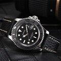 Новинка Parnis 40 мм черный циферблат автоматические механические мужские часы Diver Miyota 8215 мужские часы сапфир кожаный ремешок мужские часы 2019