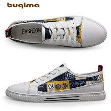 Buqima high-quality leather casual shoes Flower board Mens autumn sports canvas flat solesYouth
