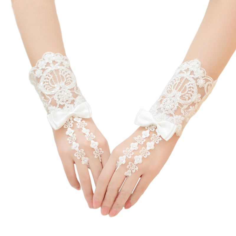 Embroidery Floral Lace Short Wedding Gloves Satin Bowknot Beaded Bridal Mittens