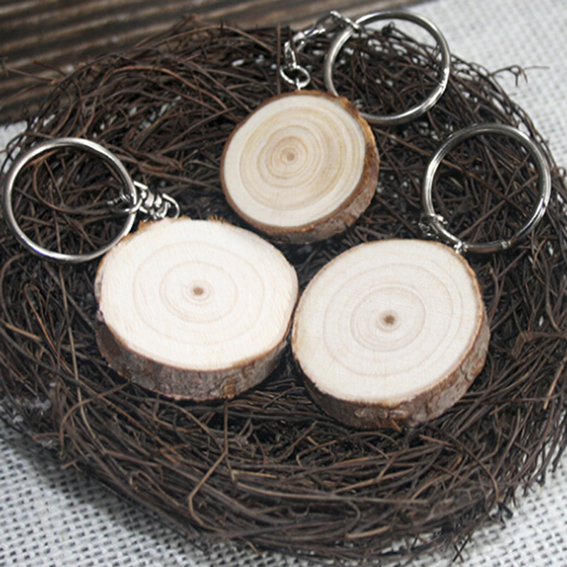 Wedding Gift Blank Round Wooden Key Chain DIY Promotion Customized Wood Keychains Key Tags Promotional Gifts