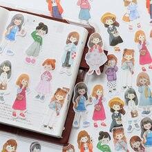 51 pçs/1 lote kawaii papelaria adesivos menina dressup diário decorativo móvel adesivos scrapbooking diy artesanato adesivos