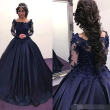2018 3D Floral Applique Quinceanera Dresses Navy Blue with Long Illusion Sleeves Beaded Square Neck Ball gown Pageant Prom Dress navy random floral print self tie at sleeves mini dress