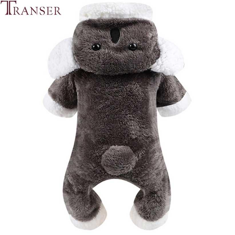 Transer ropa para perros pequeños lindo Koala perro gris monos invierno cálido polar chándal para mascotas mamelucos perros Sudadera con capucha traje 910