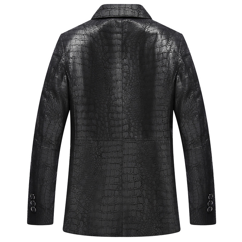 Genuine Leather Jacket Men New Crocodile Pattern Sheepskin Coat For Men Spring Fall Suit Collar Leather Jackets 4066
