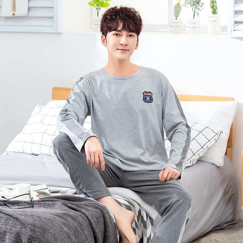 2020 Spring Autumn Long Sleeve Pajama Set For Men Korean Cotton Sleepwear Nightwear Male Loungewear Pyjama Homewear Home Clothes