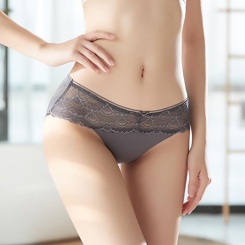Kadınlar için külot dikişsiz külot katı görünmez külot seksi dantel nefes iç çamaşırı düşük Rise külot kadın iç çamaşırı