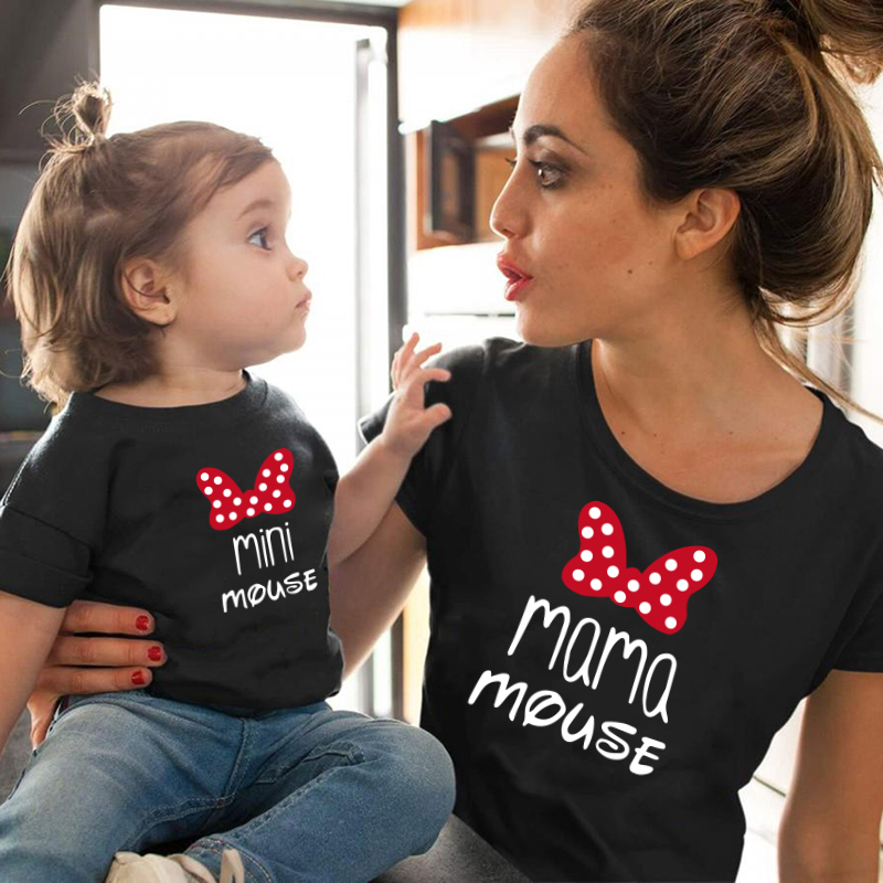 MAMA And Mini Family Matching Clothes Cotton Kawaii Bow Tshirt Mommy And Me Clothes  Tops Baby Girl Clothes Matching Outfits