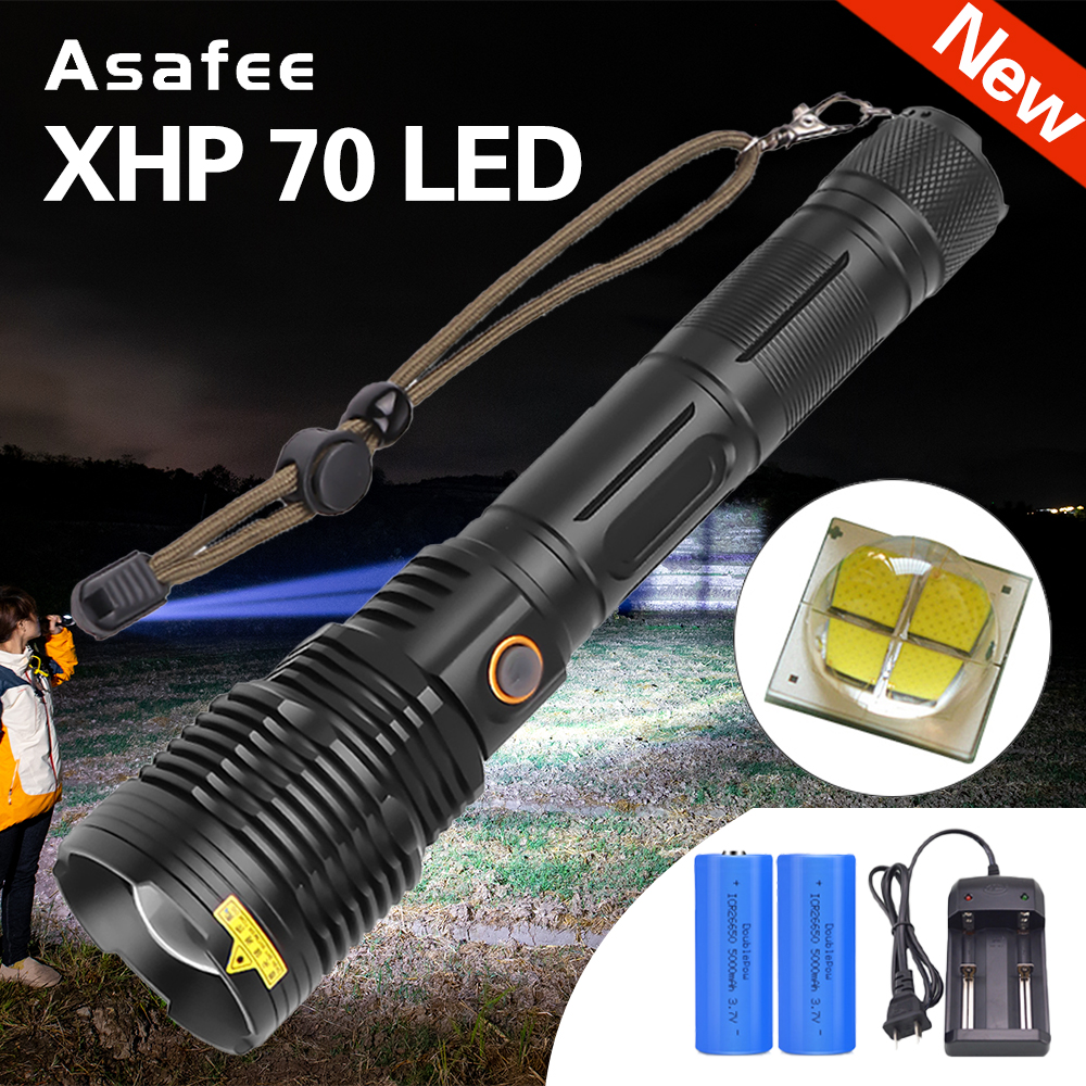 Rotary Zoom XHP70 Powerful LED Torch Tactical Light Flashlight 2500 lumens 18650 Rechargeable Flashlight XHP70 USB Charge Torch