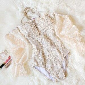 Bañador sexy de encaje para mujer, traje de baño vintage 2020, traje de baño para vestir en la playa, Monokini de manga larga ajustado, traje de baño Femenino 1 pieza