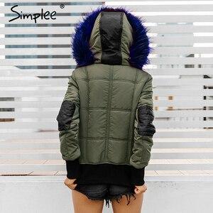 Image 3 - Simplee Hood padded parka winter jacket women coat Fur warm pocket zipper winter overcoat Snow wear thick jacket coat female