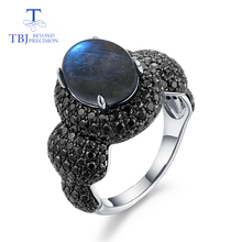 كلاسيكي نساء الأحجار الكريمة الدائري 925 فضة غرامة مجوهرات الطبيعية لبرادوريت أزرق moonstone غرامة مجوهرات من tbj