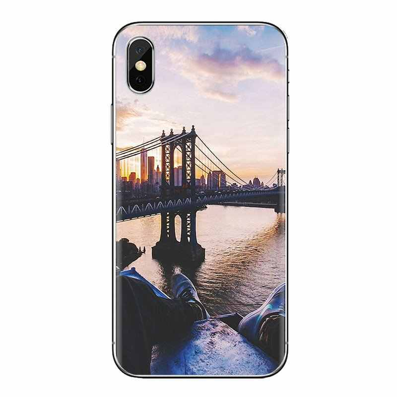 Carcasa de TPU NYC Puente de brooklyn Ciudad de Nueva York para Sony Xperia Z Z1 Z2 Z3 Z5 compacto M2 M4 m5 C4 E3 T3 XA Huawei Mate 7 8 Y3II